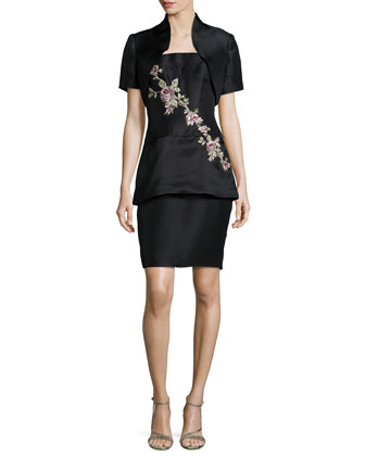 Strapless Floral-Embroidered Cocktail Dress w/ Bolero