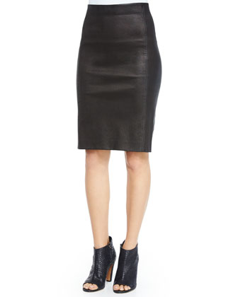 Colorblock Crewneck Sweater & Lamb Leather Pencil Skirt