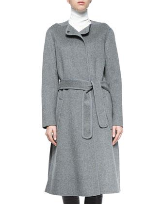 Wool-Blend Belted Car Coat, Laser-Cut Sleeveless Turtleneck Top & ...