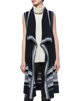 Textured Drape-Front Vest, Laser-Cut Sleeveless Turtleneck Top & Leather ...