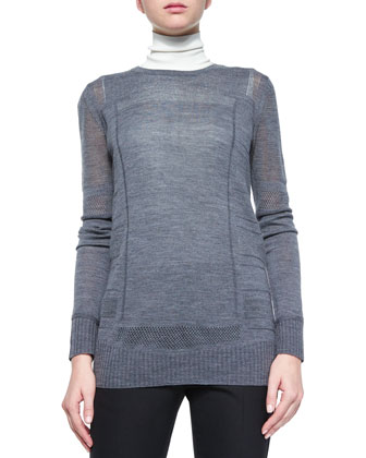 Engineered Mesh Crewneck Sweater, Laser-Cut Sleeveless Turtleneck Top & ...