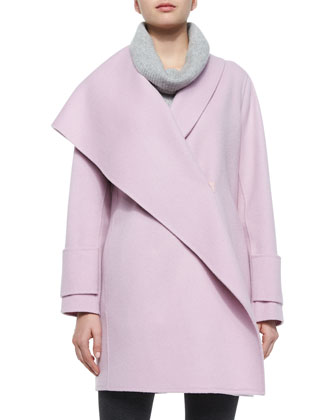 Asymmetric Draped Wool Coat