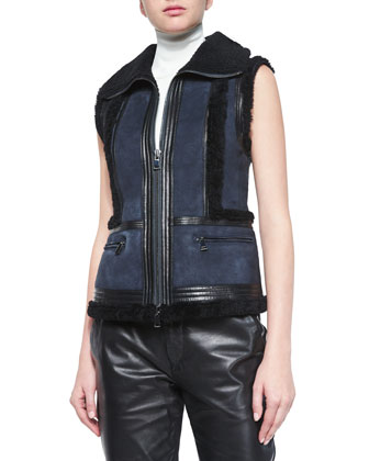 Leather Vest w/Shearling Fur Trim, Laser-Cut Sleeveless Turtleneck Top & ...