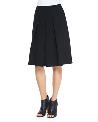 Inverted-Pleat A-Line Skirt
