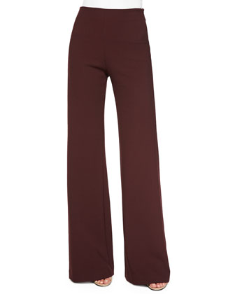 Jersey High-Waist Flare Pants, Burgundy