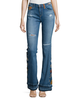 Angel High-Waist Flare Jeans, 11 Years Sunflower