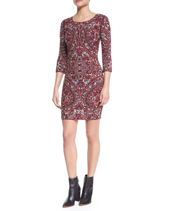 Paisley Embroidered 3/4-Sleeve Dress, Merlot