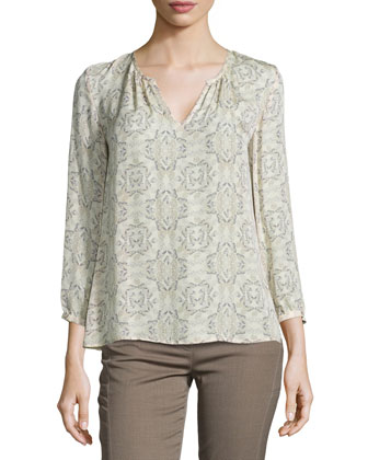 Brunone Open-Front Cardigan & Zambezi Butterfly-Print Long-Sleeve Blouse