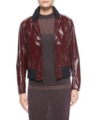 Mazy Glossy Bomber Jacket, Marie Metallic Sleeveless Top & Marie Metallic ...