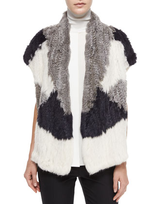Colorblock Rabbit Fur Vest, Laser-Cut Sleeveless Turtleneck Top & ...
