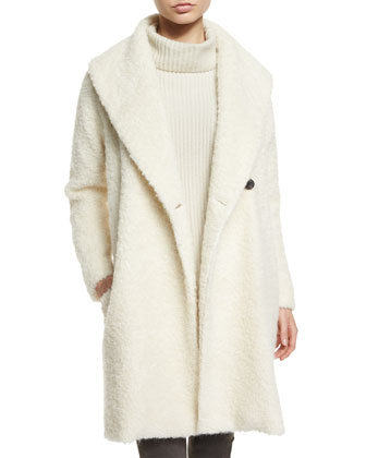 Fuzzy Knit Long Coat, Oversize Ribbed Knit Turtleneck Sweater & Skinny ...