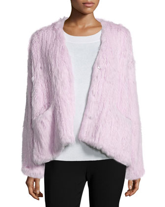 Bianca Long-Sleeve Fur Jacket, Lilac