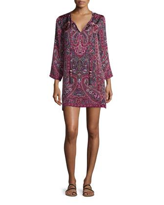Padouri Split-Neck Shift Dress, Coral