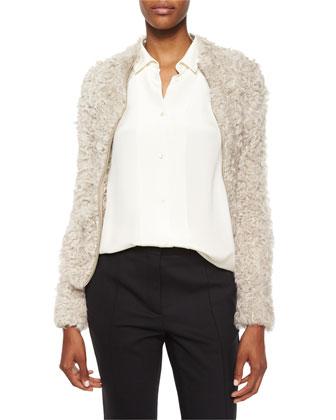 Kald Lamb Shearling Fur Zip Jacket, Beige