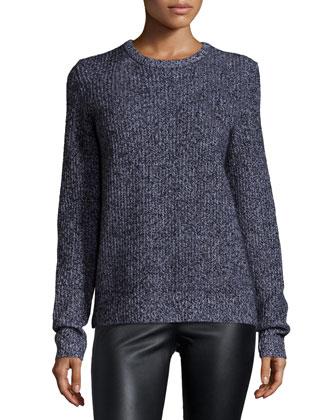 Shane Long-Sleeve Cashmere Sweater, Black/Ivory
