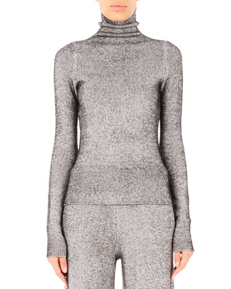 Fitted Turtleneck Sweater, Black/White