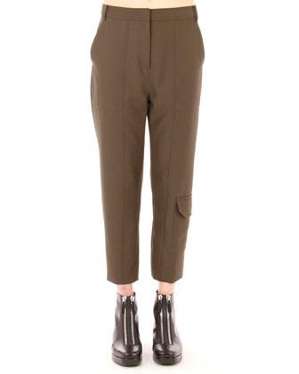 Sleek Cropped Cargo Pants, Lichen