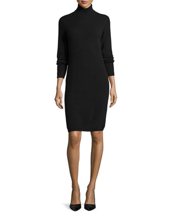 Cashmere Long-Sleeve Turtleneck Dress, Women's