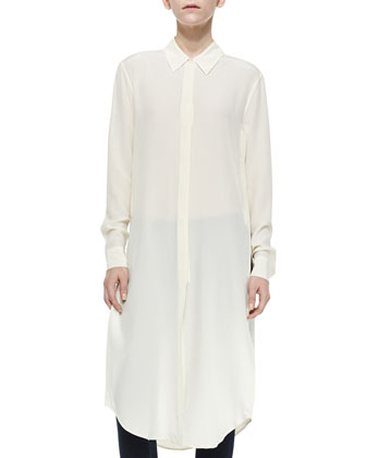 Pascal Long Button-Front Tunic, Nature White