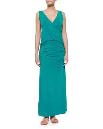 Siera Crochet-Back Jersey Maxi Dress, Teal