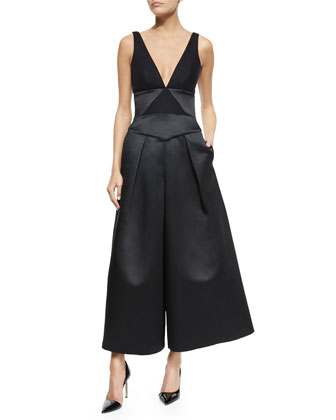 Satin V-Neck Gaucho Jumpsuit