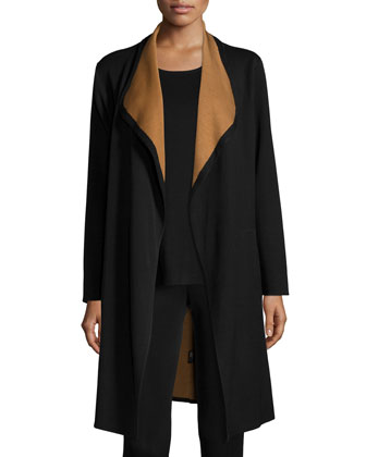 Long Drapey Jacket, Round Sleeveless Tank & Slim Ankle Pants