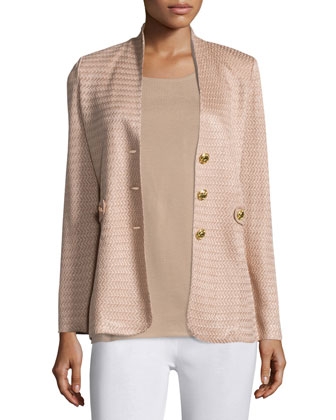 Textured Gold Button Jacket, Scoop-Neck Knit Tank & Washable Wide-Leg Pants