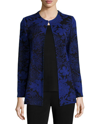 Long-Sleeve Floral-Print Jacket, Scoop-Neck Knit Tank & Boot-Cut Knit Pants