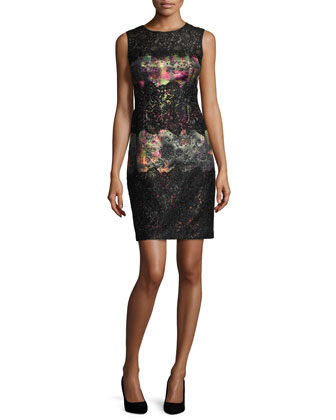 Sleeveless Printed Lace Cocktail Dress