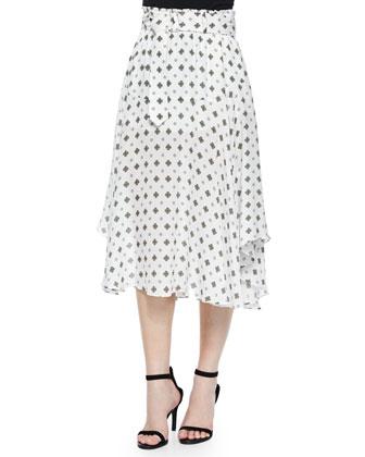 Leto Silk Medallion-Print Skirt, White