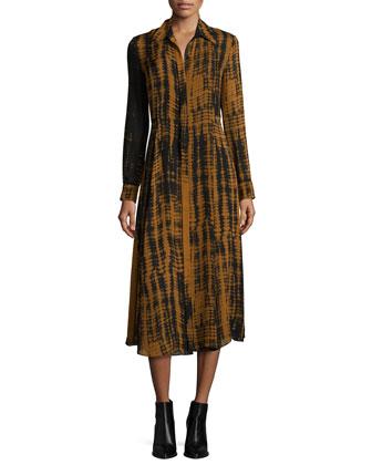 Maxwell Silk Tie-Dye Shirtdress, Black/Camel
