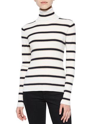 Ollie Striped Turtleneck Sweater & Ryan Sleeveless Wrap-Skirt Dress