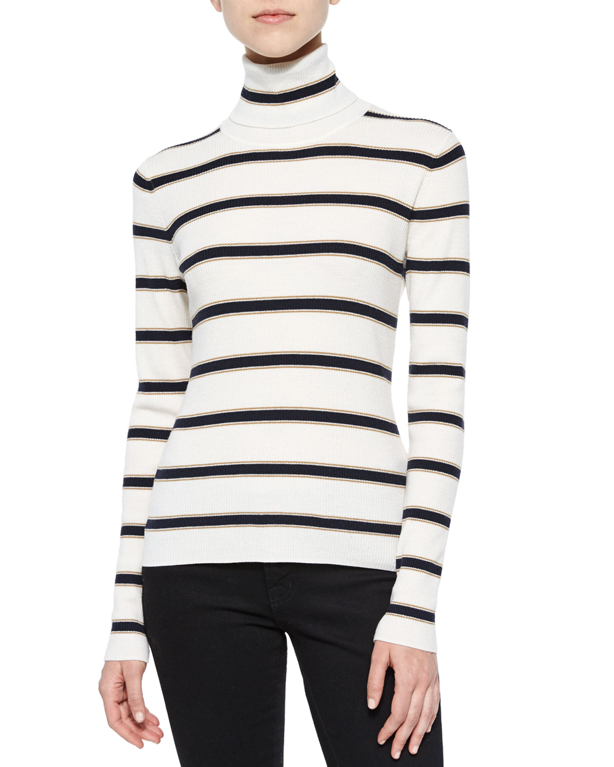 Ollie Striped Turtleneck Sweater, Size: LARGE, White/Navy/Tan - A.L.C.