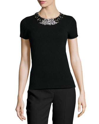 Cashmere Short-Sleeve Embellished Top