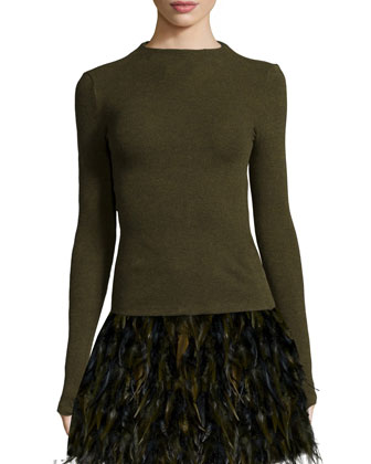 Darryl Oversized Sweater, Genova Knit High-Neck Top & Cina A-Line Feather ...