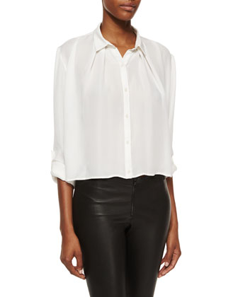 Drape-Front Boxy Top, White