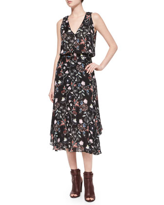 Costello Floral-Print Sleeveless Dress, Black