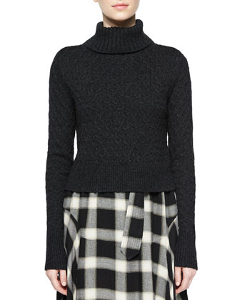 Jeannie Turtleneck Sweater & Gabriele Plaid Belted Skirt