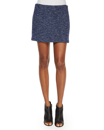 Elana Tweed Mini Skirt, Black/Blue