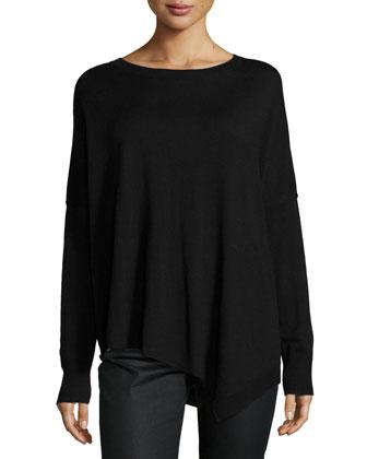 Merino Jersey Asymmetric Tunic, Black, Women's