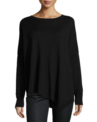 Merino Jersey Asymmetric Tunic, Black