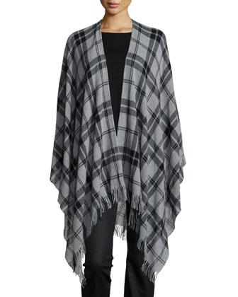 Soft Wool Plaid Poncho, Merino Jersey Asymmetric Tunic & Stretchy Jean ...