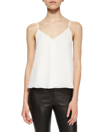 Khira Fold-Over Flowy Tank, White