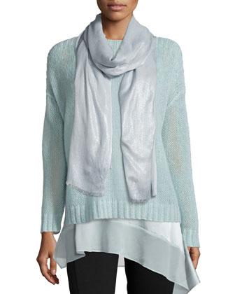 Airy Mohair Box Top, Stretch Silk Asymmetric Tunic, Modal Shimmer Scarf & ...