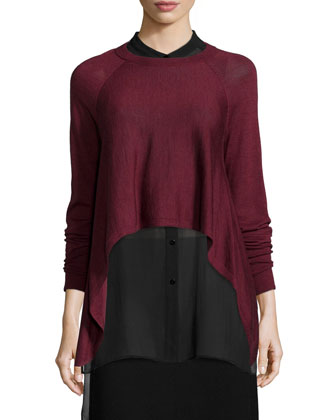 Fisher Project Merino Cropped Top, Silk Georgette Tunic W/ Step Hem & ...