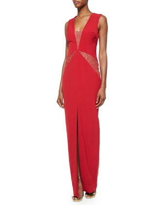 Dimity Sequin-Inset V-Neck Gown