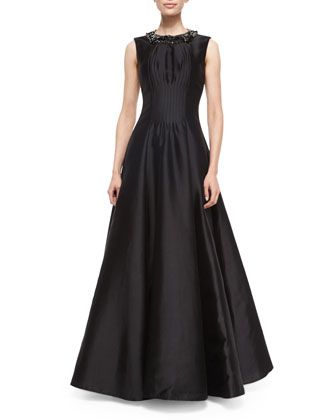 Alexis Embellished-Neck Gown, Black