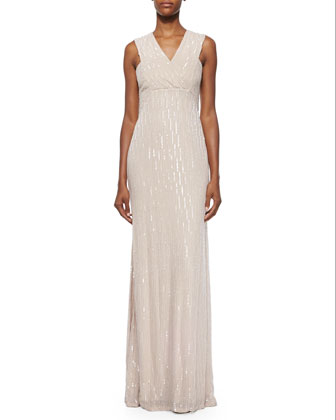 Talena Sequined Surplice Gown, Antique