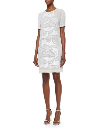 Taika Floral Sequin Shift Dress