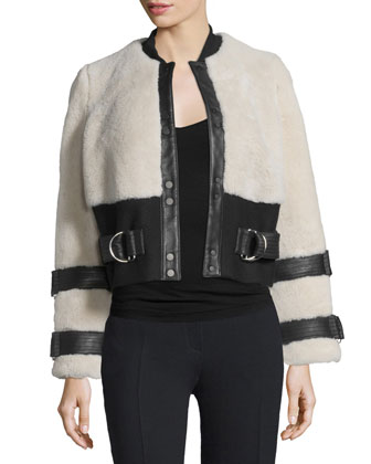 Stager Long-Sleeve Fur Jacket w/Leather Trim